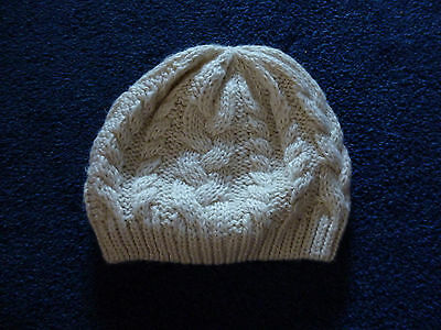 Child's Beige Cable Knit Beanie Hat