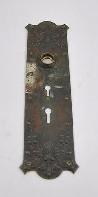 Antique Victorian Cast Brass Door Backplate Two Key Hole Openings Floral Details
