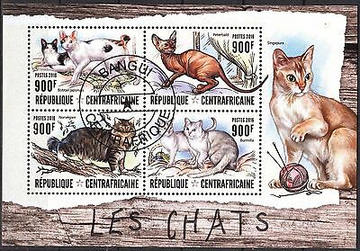 Central African Republic 2016 Cats Sheet of 4 used