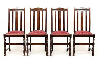 Antique Set of 4 Early 20th C Oak High Back Carved Dining Chairs Furniture