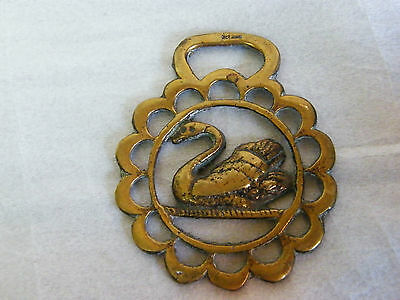 Cast Brass England HORSE BRASS Swan in Pierced Surround  2.8inWide64gms #606