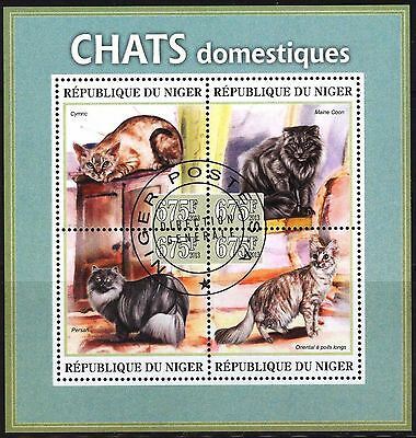 Niger 2013 Cats Sheet of 4 Used