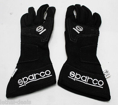SPARCO RACE GLOVES Nomex Single Layer Black SFI 3.3/5 FIA Auto Racing Size 7 NEW