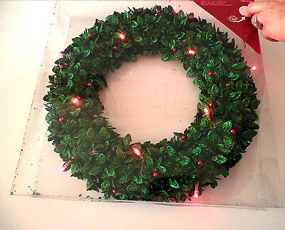"""CHRISTMAS Holiday LED Red Lighted Green Glittered Wreath 15"""""""