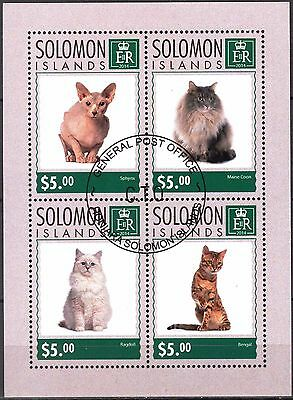 Solomon 2014 Cats Sheet of 4 Used