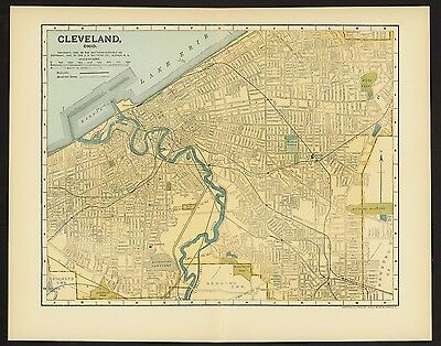 Vintage Street Map 1903 CITY OF CLEVELAND, OHIO Muli Color Lithograph Book plate
