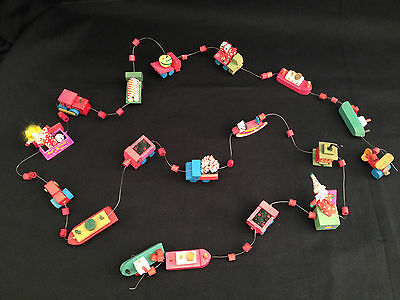 Rare Vintage Christmas Garland Hand Painted Wooden Toys Strand 62 Inches Holiday