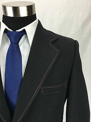 42S Vintage Travel Knit Mens Black with Red Stitch Gold Button Blazer Sport Coat