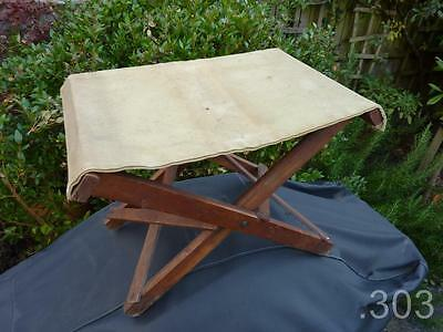 WWI / WWII British Army Officer's Folding Campaign Field Stool, Vintage Camping