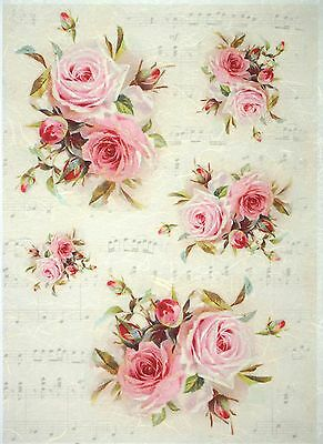 Rice Paper for Decoupage, Scrapbook Sheet, Craft Vintage Red Roses