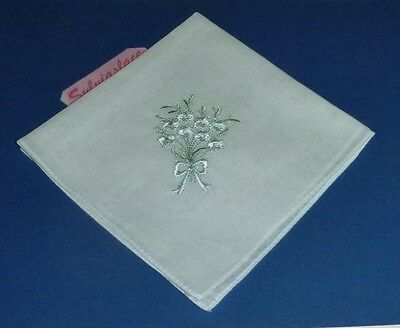 3  White  Embroidered ladies Hankies   White with Green Leaves       26 x 26 cm
