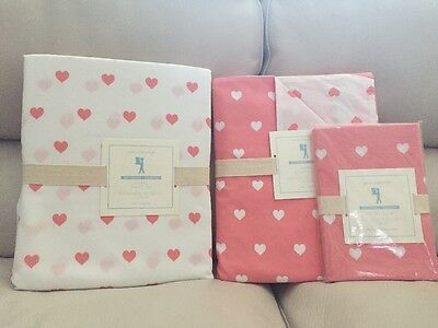5pc Pottery Barn Kids Coral Hearts HEART Duvet Cover Standard Sham Sheets Twin