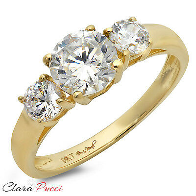 1.50 CT Three Stone Round Cut Ring Engagement Wedding Band 14K Yellow Gold