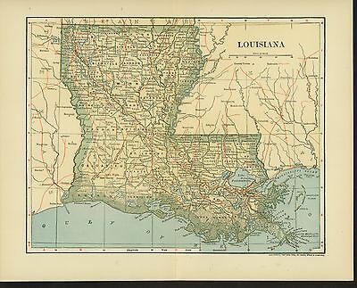 Vintage Map 1903 LOUISIANA (Area and Population Tables)