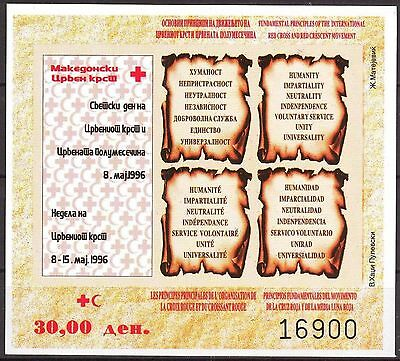 Macedonia 1996 Red Cross S/S imperf. MNH**