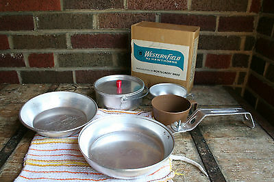 Vintage Mess Kit Weatern Field By Hawthorne Montgomery Ward with Knit Bag Towel