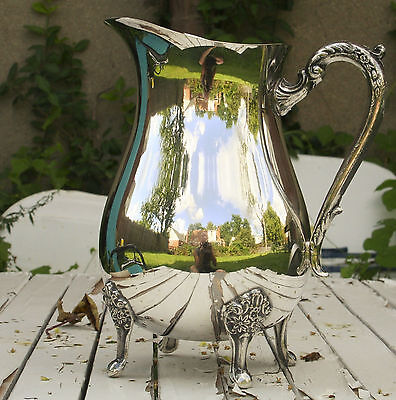 """Vintage Silver Plate~Leonard Silverplate~Footed Water Pitcher With Ice Lip 9"""""""
