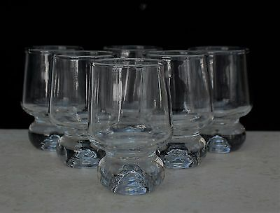 Set of Six Vintage Retro Whisky Tot  Shot Glasses with Heavy Ball Base - 80 ml