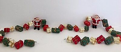 Vintage Christmas Garland Fabric Wrapped Presents and Flocked Santa Claus 65in