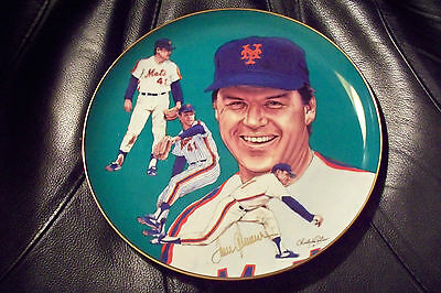 Tom Seaver Signed Hackett American Strikeout Edition Plate New York Mets LE #302