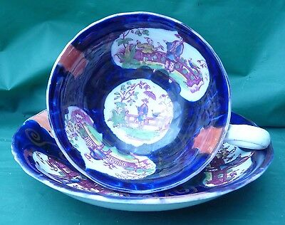 antique painted gaudy welsh cup saucer c1870 dresser display chinese scenes