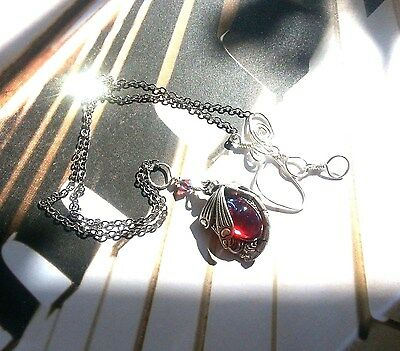 Dragonfly Curved Tail Necklace with Dragon's Breath Opal Art Nouveau low Ship