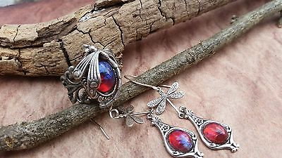 Dragonfly Curved Tail Ring & Matching Earrings with Dragon's Breath Opal Sale