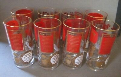 Eight Excellent Vintage HIBALL Glasses With Drink Recipes