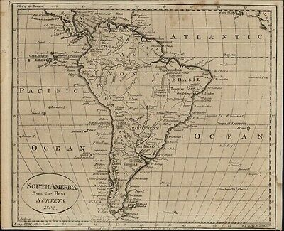 South America 1799 Wheat & Brun #719- scarce 1802 version Scoles engraved map