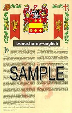BEAUCHAMP Armorial Name History - Coat of Arms - Family Crest GIFT! 11x17