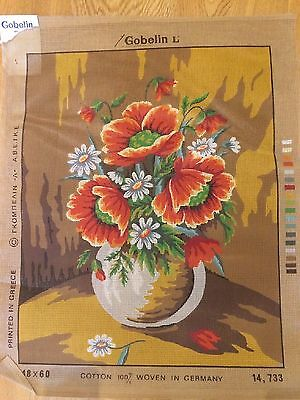 GOBELIN Tapestry canvas FLOWERS IN VASE unstitched AS NEW from Greece/Germany