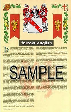FARROW Armorial Name History - Coat of Arms - Family Crest GIFT! 11x17
