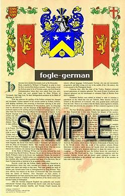FOGLE Armorial Name History - Coat of Arms - Family Crest GIFT! 11x17