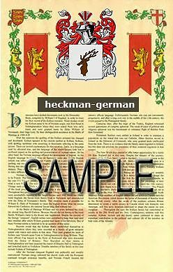 HECKMAN Armorial Name History - Coat of Arms - Family Crest GIFT! 11x17