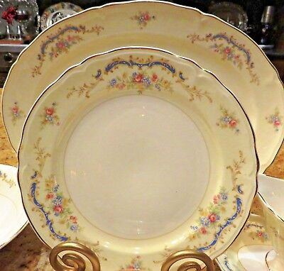 53 PC Edwin M Knowles Dinnerware + Serving PRINCESS 1947 SemiVitreous GoldRim