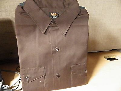NOS 1950's Vintage mens LEE Chetopa Twill work shirt BROWN color USA made 16""