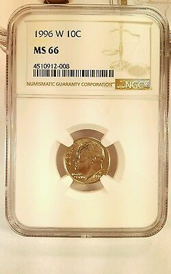 1996 W ROOSEVELT DIME Coin NGC MS 66 Gem Uncirculated