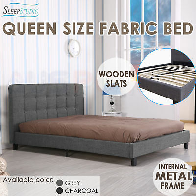 New Queen Size Fabric Bed Frame Grey or Charcoal Deluxe