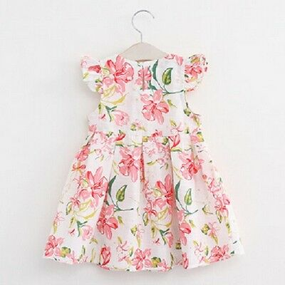 Baby Kids Girls Dress Print Flower Cotton Party Birthday Spring Summer Pretty