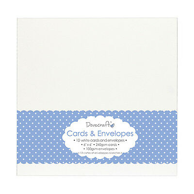 PACK OF 10 DOVECRAFT 6 x 6 WHITE, KRAFT BROWN OR CREAM CARD BLANKS AND ENVELOPES