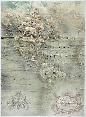 Rice Paper for Decoupage Decopatch Scrapbook Craft Sheet Vintage Old Map