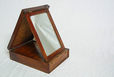 Victorian Mahogany Campaign Shaving Box With Orignal Mirror