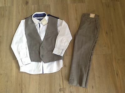 Next Brand New With Tags Boys Grey Suit Trousers 3-4 Waistcoat And Shirt Age 5