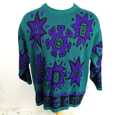 Vintage 80s 90s Womens Abstract Oversized Surf Ugly Christmas Ski Sweater Grunge