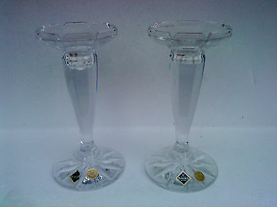 Pair of  Bohemia Lead Crystal Candlesticks with labels