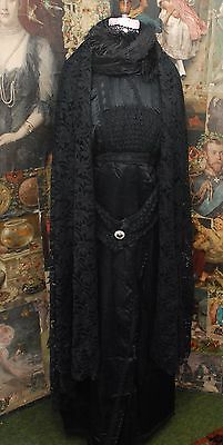 Gorgeous Antique Black Silk Satin & Lace Mourning Gown With Antique Lace Shawl