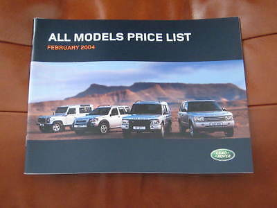 Land Rover Price List February 2004,defender, Freelander, Discovery, Range Rover