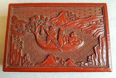 Fine Antique Chinese Cinnabar Carved Red Lacquer Box 19Th Century