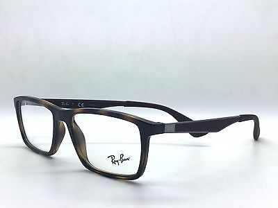 Authentic Ray Ban RX 7056 2012 Shiny Havana Plastic Rectangle Eyeglasses 53mm
