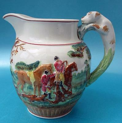 Antique Wedgwood Porcelain Fox Hunting Jug With Hound Handle